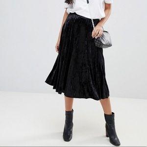 Calvin Klein Black Velvet High Waist Midi Skirt 4